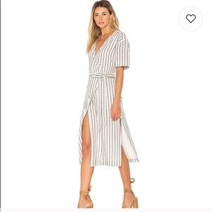 Tularosa Maddy Wrap Dress in Navy Stripe